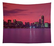Red Chicago Sunset Tapestry