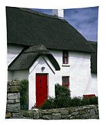 Red Door Thatched Roof Tapestry