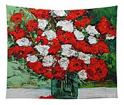 Red Explosion Tapestry