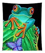 Red-eyed Tree Frog And Butterfly Tapestry