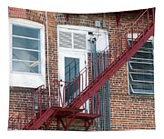 Red Fire Escape Usa I Tapestry