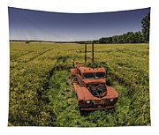 Red Firetruck In The Field Tapestry