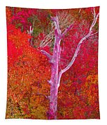 Pink Tree In A  Red Forest Tapestry