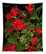 Red Geranium Line Art Tapestry