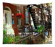Red Geraniums Verdun Winding Staircases Hanging Flower Basket Montreal Porch Scene Carole Spandau Tapestry