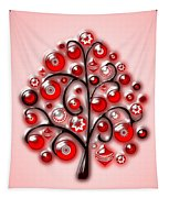 Red Glass Ornaments Tapestry