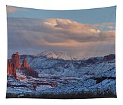 Red Glow In A Sea Of White - Panorama Tapestry