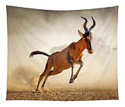 Red Hartebeest Running In Dust Tapestry