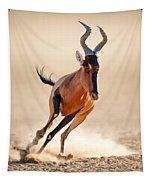 Red Hartebeest Running Tapestry