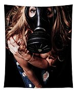 Red Head Gas Mask Tapestry