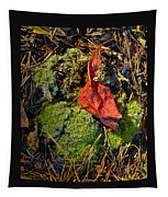 Red Leaf On Moss Tapestry