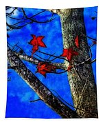 Red Leaves Blue Sky In Autumn Tapestry