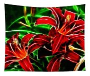 Red Lilies Expressive Brushstrokes Tapestry