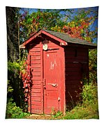 Red Outhouse Tapestry