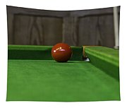 Red Pool Ball On A Pool Table Tapestry