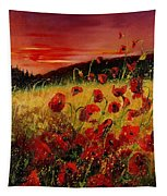 Red Poppies And Sunset Tapestry