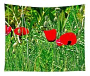 Red Poppies Near Meryem Ana Evi-cottage Believed To Be Mary's Last Home-turkey Tapestry