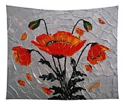 Red Poppies Original Palette Knife Tapestry