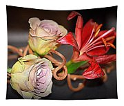 Purple Roses And Red Lily Tapestry