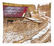 Red Roof In The Snow  Tapestry