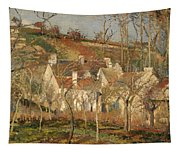 Red Roofs In A Village In Winter Tapestry