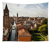 Red Roofs Of Europe - Venetian Canal Palaces Gardens And Courtyards Tapestry
