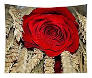 Red Rose On A Bed Of Wheat Tapestry