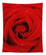 Red Rose With Water Drops Tapestry