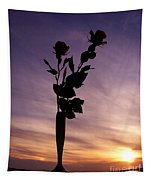 Red Roses At Sunset Tapestry