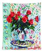 Red Roses In Water Tapestry