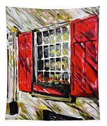 Red Shutters Tapestry