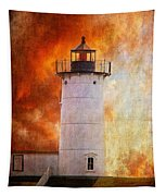Red Sky At Morning - Nubble Lighthouse Tapestry