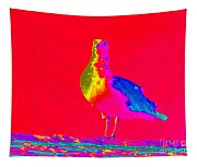 Red Sky Seagull Tapestry