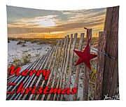 Red Star On Fence Tapestry