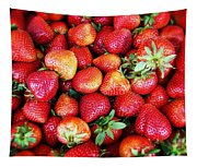 Red Strawberries Tapestry