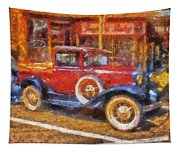 Red Truck Photo Art Tapestry