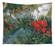 Red Tulips And Geese  Tapestry