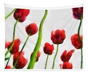 Red Tulips From The Bottom Up Triptych Tapestry