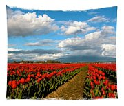 Red Tulips Of Skagit Valley Tapestry