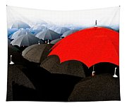 Red Umbrella In The City Tapestry