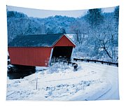 Red Vermont Covered Bridge Tapestry