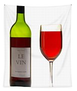 Red Wine Bottle And Glass Tapestry