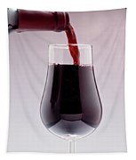 Red Wine Bottle Pouring Into A Glass Tapestry