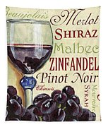 Red Wine Text Tapestry by Debbie DeWitt