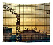 Reflected Cranes At Sunset Tapestry