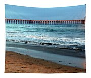 Reflected Sunlight At Pier's End Tapestry