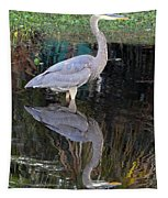 Reflecting Great Blue Heron Tapestry