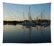 Reflecting On Yachts - Hot Summer Afternoon Mirror Tapestry