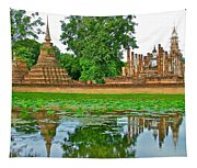 Reflecting Pool At Wat Mahathat In 13th Century Sukhothai Historical Park-thailand Tapestry