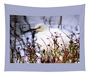 Reflection Of A Snowy Egret Tapestry